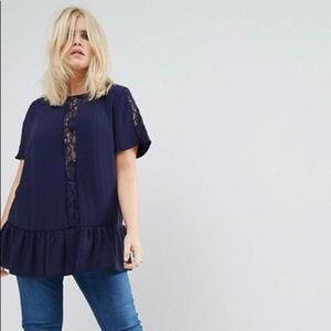 ASOS Smock Top with Lace Insert